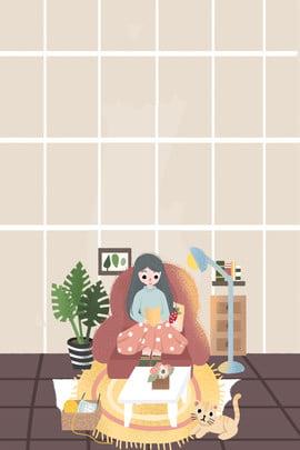 冬の家の女の子暖かい毎日イラスト 冬 暖かい ホーム 少女 人生 家具 イラストレーターのスタイル , 冬, 暖かい, ホーム 背景画像