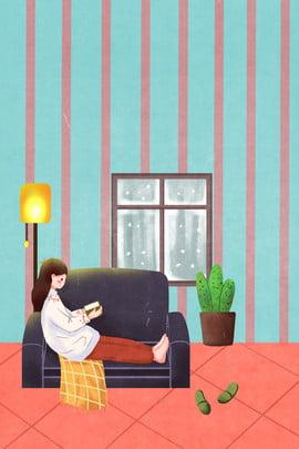 冬の家の女の子のカジュアルな日常図 冬 暖かい ホーム 少女 人生 家具 イラストレーターのスタイル , 冬の家の女の子のカジュアルな日常図, 冬, 暖かい 背景画像