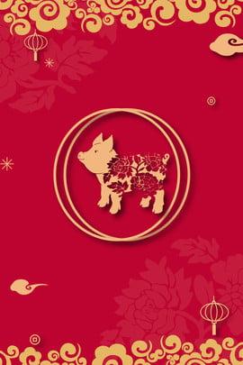 돼지의 해 청동 색 새해 배너 돼지의 해 핫 스탬핑 새해 금 금화 랜턴 구름 배너 , 돼지의, 스탬핑, 새해 배경 이미지