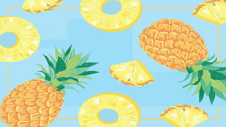 Yellow Pineapple Lovely Fresh, Hand Painted, Cartoon, Ad, Background image