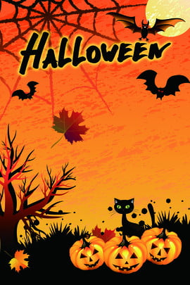 yellow pumpkin halloween background halloween , Halloween Poster, Silhouette Of Trees, Kitten Background image