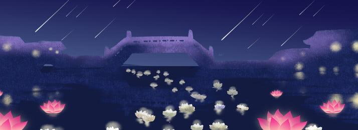 भूत महोत्सव भूत उत्सव ब्लू लोटस बैनर पोस्टर पृष्ठभूमि झोंगयुआन महोत्सव भूत का, झोंगयुआन, तालाब, बैनर पृष्ठभूमि छवि