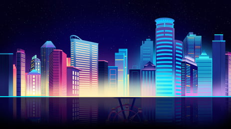 璀璨 도시 야경 일러스트 배경, 도시 배경, 건축 배경, 유성 배경 이미지
