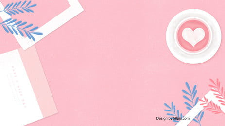 一杯粉色咖啡花葉粉色背景, 一杯, 粉色, 咖啡 背景圖片