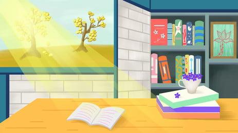 एक सनी कार्टून पृष्ठभूमि अध्ययन डेस्क पर छिड़का, अध्ययन कक्ष, डेस्क, बहाना पृष्ठभूमि छवि