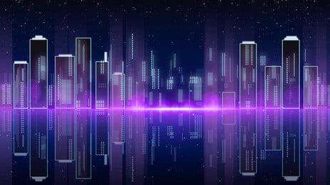 công nghệ thẩm mỹ trừu tượng kiến trúc thành phố banner vật liệu nền, Màu Tím, Ánh Sáng, Công Nghệ Ảnh nền