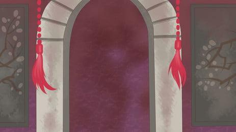 cửa vòm cổ kính viền đỏ trang trí, Cổ đại, Cổng Vòm, Lỗ Cửa Ảnh nền