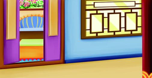 古代建築花窗柱子木門背景, 古代, 建築, 花窗 背景圖片