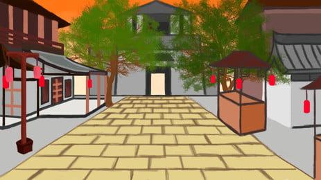 通りの背景素材に沿って古代の風, 古代のスタイル, 街路灯, 中華風 背景画像
