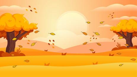 秋こんにちは秋の落ち葉背景デザイン, 手描き, 漫画, 可愛い 背景画像
