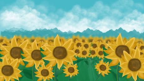 秋季向日葵花海背景設計, 秋季, 向日葵, 花海 背景圖片