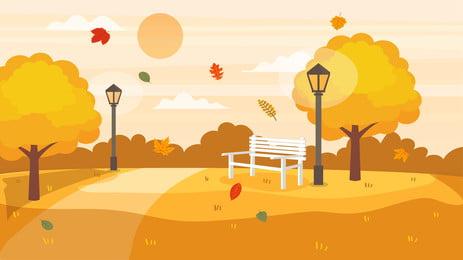 autumnal fall big tree park thiết kế phim hoạt hình, Nền Mùa Thu, Mùa Thu, Cây To Ảnh nền