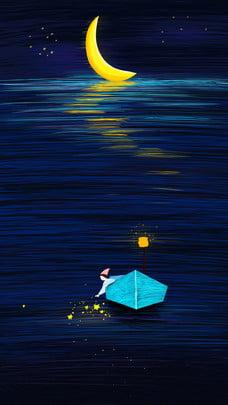 جميلة لفائف ضوء القمر سطح بحيرة ليلة خلفية جيدة المادية , انطباع الملف, خلفية لفائف, بحر صور الخلفية