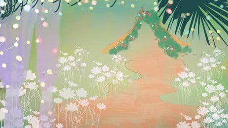 Schöner Blumenwiesenhochzeitsszenenhintergrund Schön Blume Wiese Hochzeit Szene Schön Blume Wiese Hintergrundbild