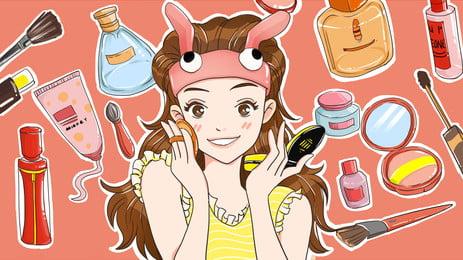 化粧メイクアップ化粧品漫画の背景を持つ美しい女の子, 化粧, 可愛い, 少女 背景画像