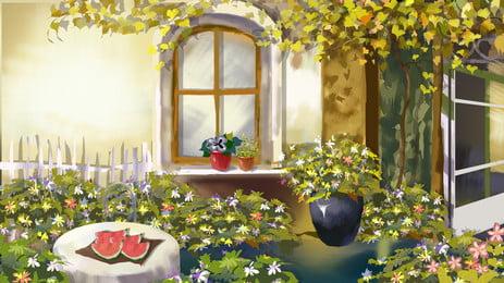 सुंदर साहित्यिक उद्यान आंगन चित्रण पृष्ठभूमि डिजाइन, चित्रित पृष्ठभूमि, सुंदर, साहित्य और कला पृष्ठभूमि छवि