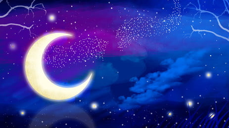 beautiful moonlight forest good night background material, Beautiful, Moonlight, Moonlight Forest Background image
