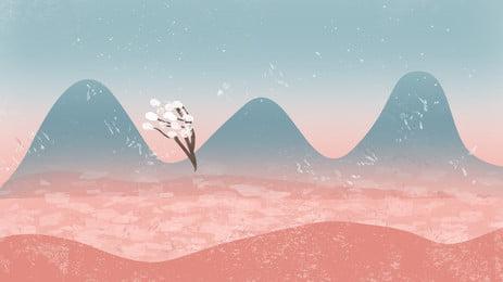 아름 다운 산 피크 그림 배경, 손으로 그린, 아름다운, 일러스트 배경 배경 이미지