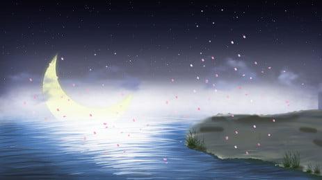 美しい海に昇る明るい月の花びらの背景素材 美しい 花びら 月 背景画像