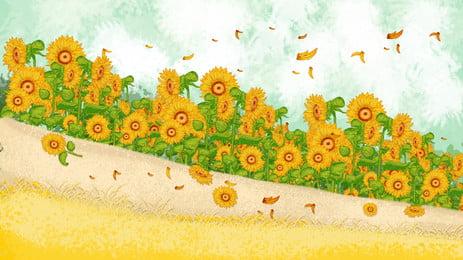唯美向日葵花海背景素材, 花朵, 向日葵, 秋天 背景圖片