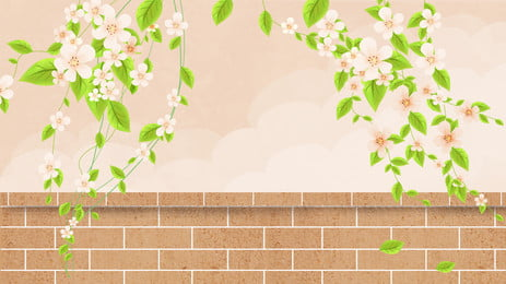 Beautiful Wall Flower Vine Background Material, Plant, Flower Vine, Flower Branch, Background image