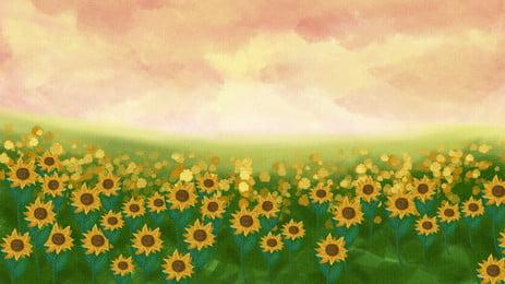 唯美水彩向日葵花海背景素材, 花海, 彩繪, 太陽花 背景圖片