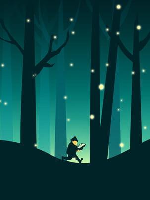 大きな夏の夜ホタル読書 , 猛暑, 夜, ホタル 背景画像