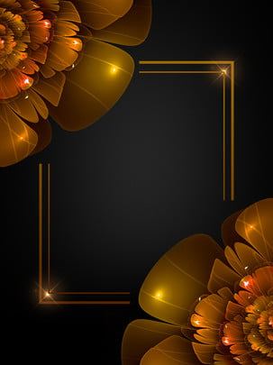 Black Gold Wind Golden Flowers Creative Poster Background Design, Black Gold Wind, Golden Flower, Creative Background, Background image