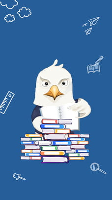 coruja azul dos desenhos animados lendo o projeto de plano fundo do cartaz dia , Azul, Coruja, Dia De Leitura Imagem de fundo