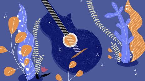 藍色彩色花葉藍色吉他音樂卡通背景, 藍色, 彩色, 花葉 背景圖片