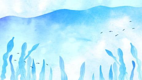 Blue distant mountain leaves cartoon background, Blue, Far Mountain, Leaf Background image