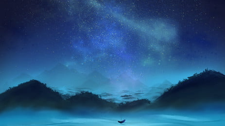 ब्लू डिस्टेंट माउंटेन स्टार्री पृष्ठभूमि सामग्री, नीला, दूर पहाड़, तारों वाला आकाश पृष्ठभूमि छवि