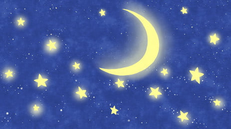 Blue Dreamy Moon Stars Illustration Background Material, Moon, Star, White Clouds, Background image