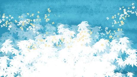 藍色夢幻花朵背景設計, 藍色背景, 夢幻背景, 插畫背景 背景圖片