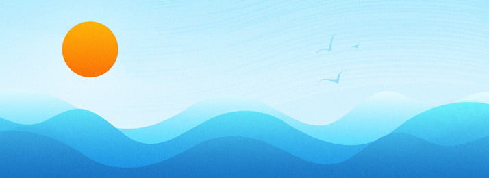 blue gradient sea wave banner background material, Wave, Simple, Blue Background image