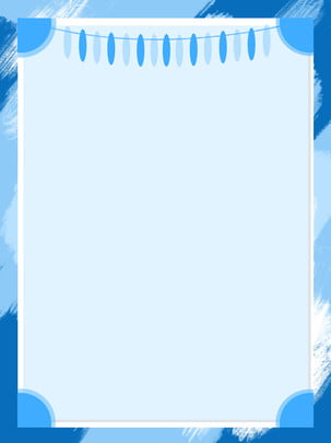 Blue Hand Drawn Border Poster Background Illustration, Blue, Hand Painted, File, Background image