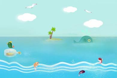 青いシンプルな新鮮な海の背景デザイン ブルー 漫画 手描き 新鮮な ブルー 青い空 白い雲 海水 ビーチ 青いシンプルな新鮮な海の背景デザイン ブルー 漫画 背景画像