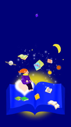 Blue Night Sky Book Sea Girl Background Material Of books,ocean Of, Knowledge, Background, Moon, Background image