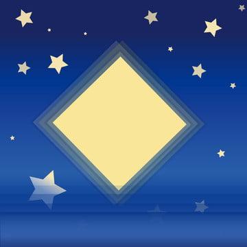 푸른 밤 별이 빛나는 바닷물 여름 물 배경 일러스트 레이션 , 별이 빛나는 하늘, 여름, 해변가 배경 이미지