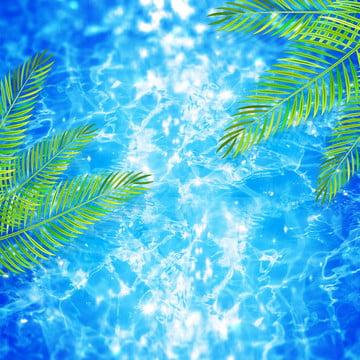 синий Морской фон , мультфильм, лето, летний день Фоновый рисунок