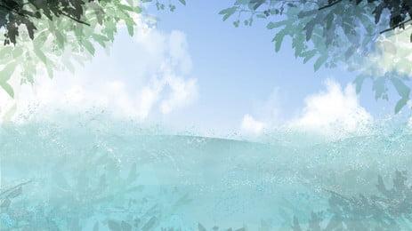 藍色海洋綠色卡通背景 藍色 海洋 綠色背景圖庫