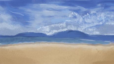 青い海と青い空のビーチの背景素材 青い空と白い雲 ビーチ 青い空 背景画像