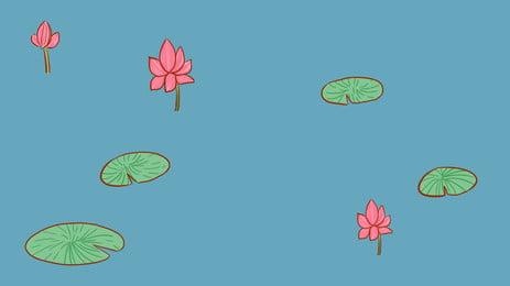 ブルーシーズン秋夏ロータス池バナー素材 ブルー 蓮の池 あき 背景画像
