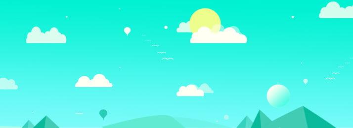 藍天白雲簡約背景, 藍天白雲, 簡約風, 藍色背景 背景圖片