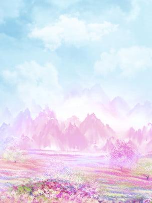 青空の白い雲の色彩の花の風景の手描きの図案 手絵の花 白雲 青い空 背景画像