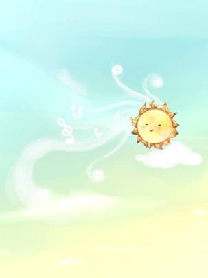 blue sky white clouds cute little sun music pattern , Blue Sky, White Clouds, Al Note Background image