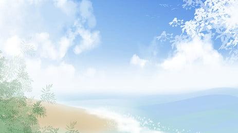 blue sky white clouds ocean beach plant background, Blue Sky, White Clouds, Ocean Background image