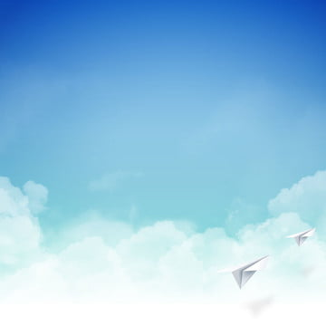blue sky white clouds paper plane background material , Sky, White Clouds, Paper Plane Background image