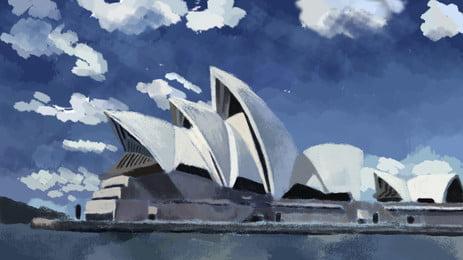 blue sky white clouds sydney opera lake water cartoon background, Blue Sky, White Clouds, Sydney Background image