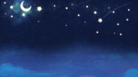 青い星空バナーの背景デザイン ブルー 星空 月光 背景画像